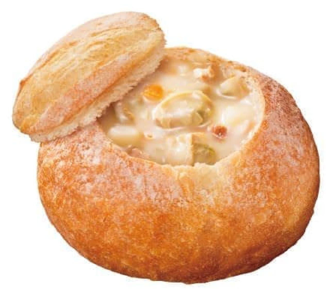 「豆乳クラムチャウダー」は、豆乳をベースに魚介の旨味を凝縮させコクと深みがプラスされたスープが入ったスープパン