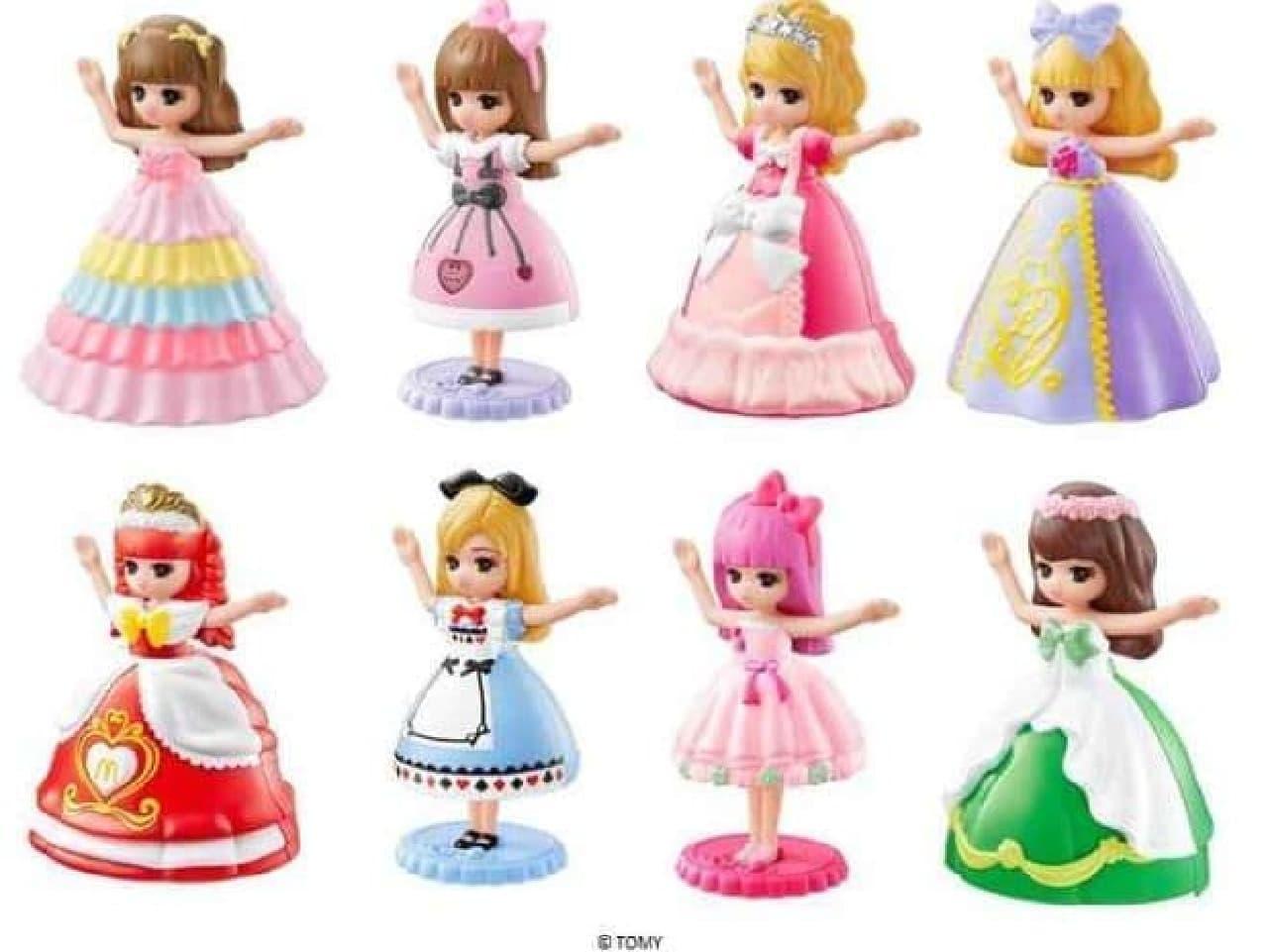 リカちゃんは、「カラフルプリンセス リカちゃん」や、「マクドナルドプリンセス リカちゃん」など全8種が登場