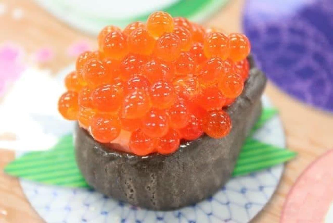 クラシエから販売されている知育菓子ポッピンクッキン・シリーズの「たのしいおすしやさん」で作ったイクラ