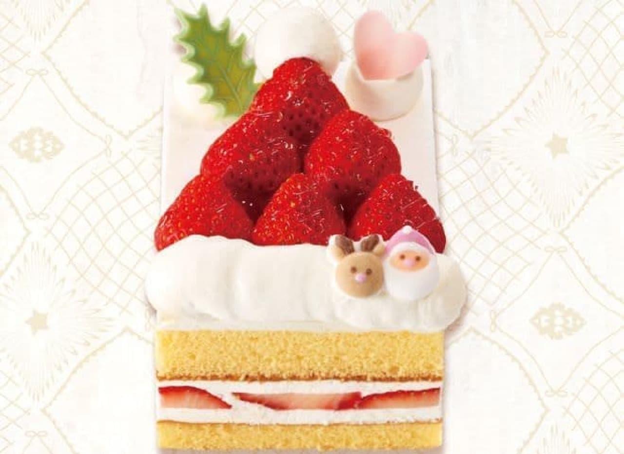 「苺のショートケーキ~サンタの帽子~」は、雪の上に落ちたサンタさんの落し物である真っ赤な帽子がデザインされたケーキ