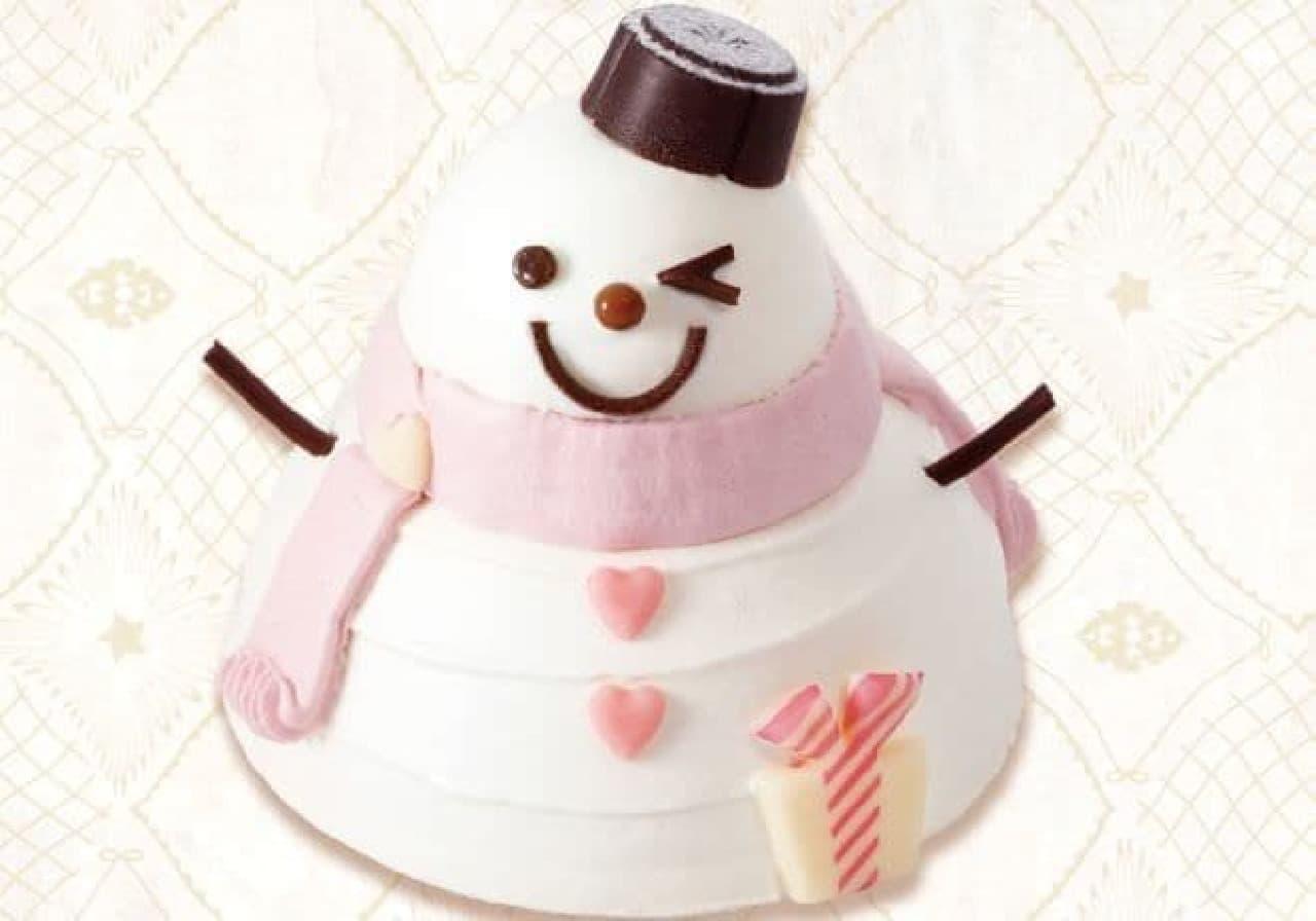 「白いチーズのスノーマン」は、ブルーベリーをほおばったレアチーズケーキの雪だるま