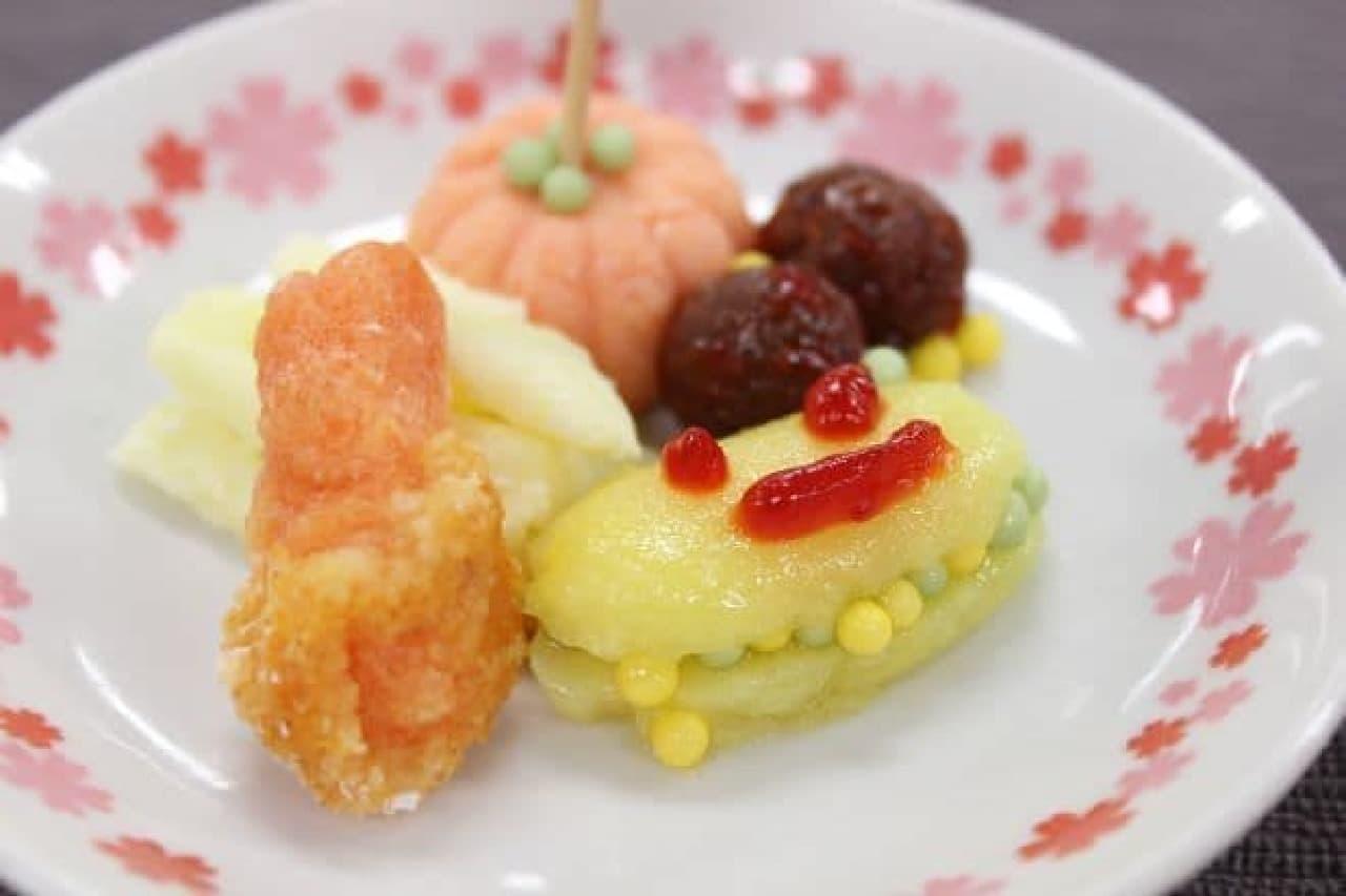 クラシエから販売されている知育菓子ポッピンクッキン・シリーズ「つくろう!おこさまランチ」の完成品