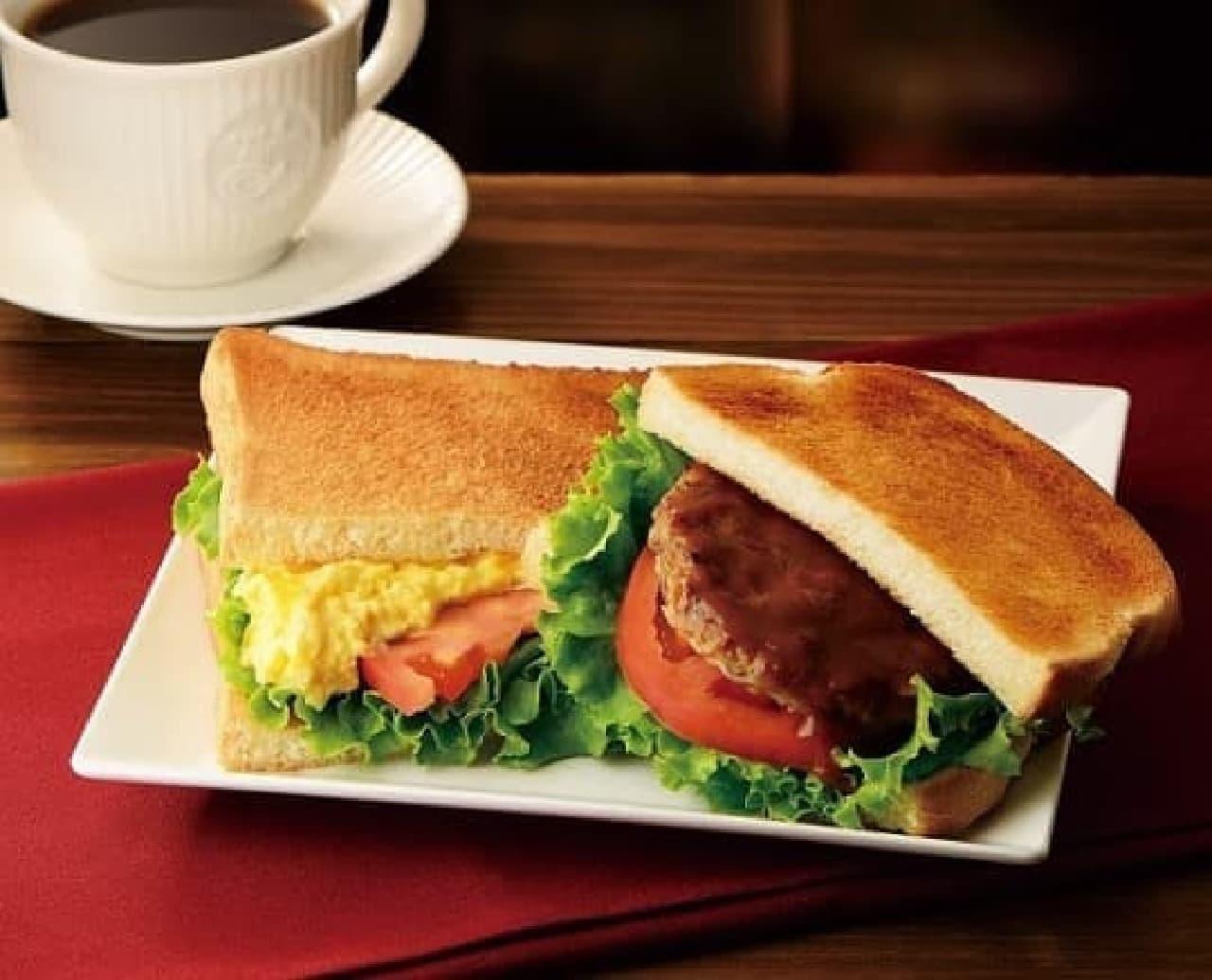 カフェ・ド・クリエ「2つのサンド デミハンバーグとたまごサラダ」