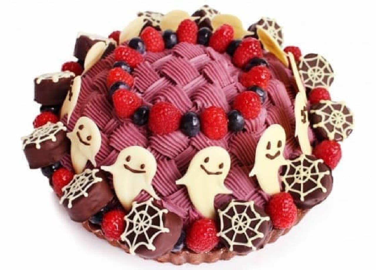 カフェコムサ「ハロウィンゴーストタウン ~バナナと紫芋のケーキ~」