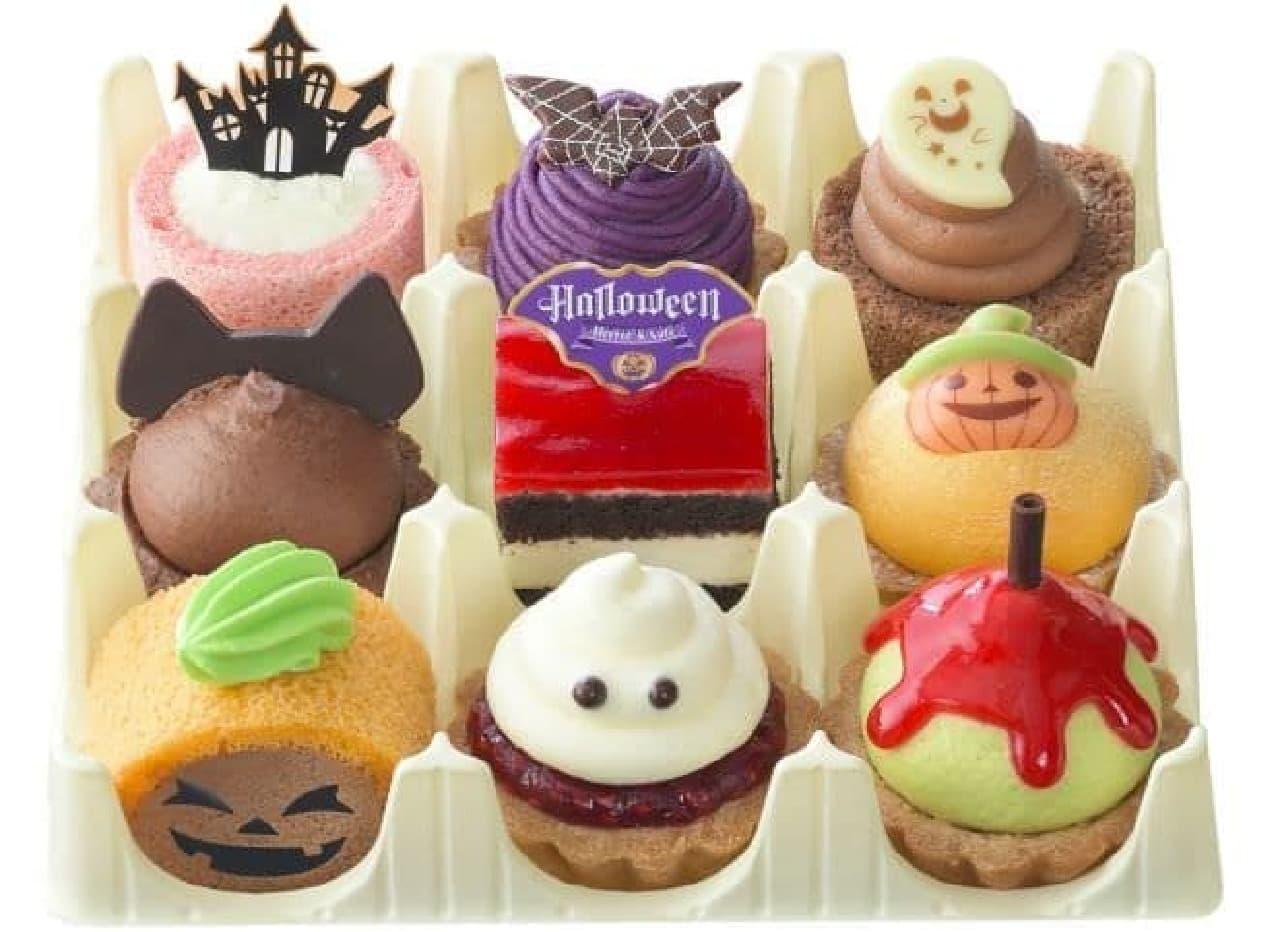 「モンスターパーティー(9個入)」は、ハロウィンキャラクターがかわいいプチケーキになったセット