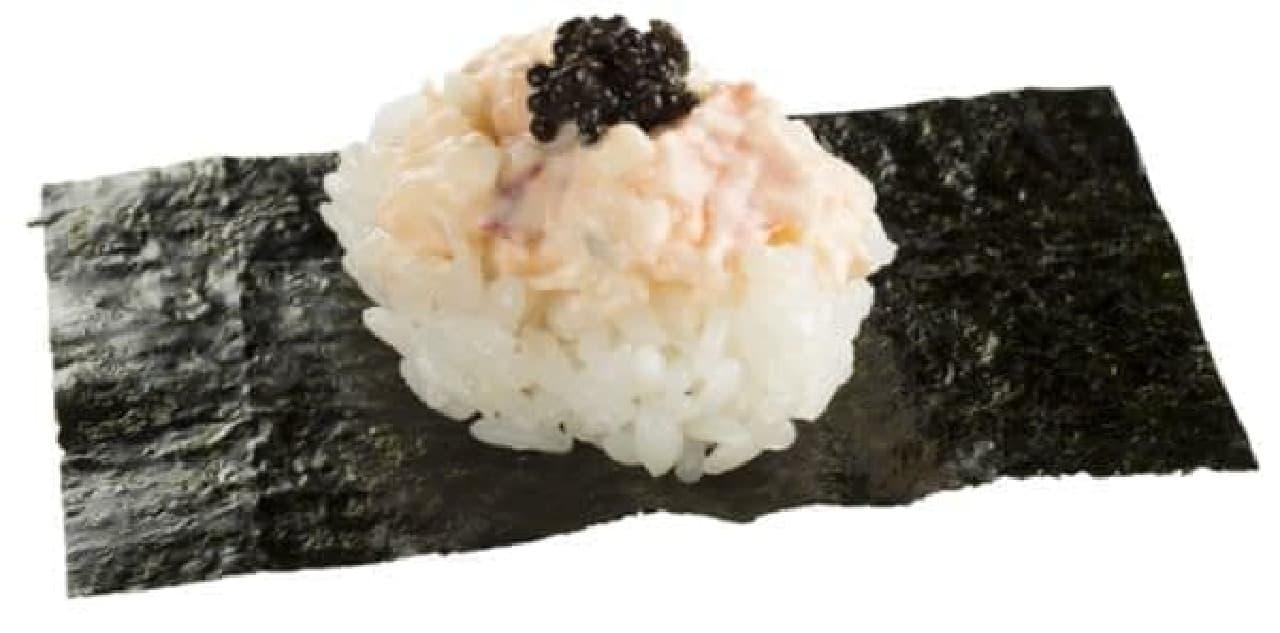 「オマール海老サラダ」はカナダの冷たく栄養豊富な海で育った鮮度のいい海老が使用された寿司