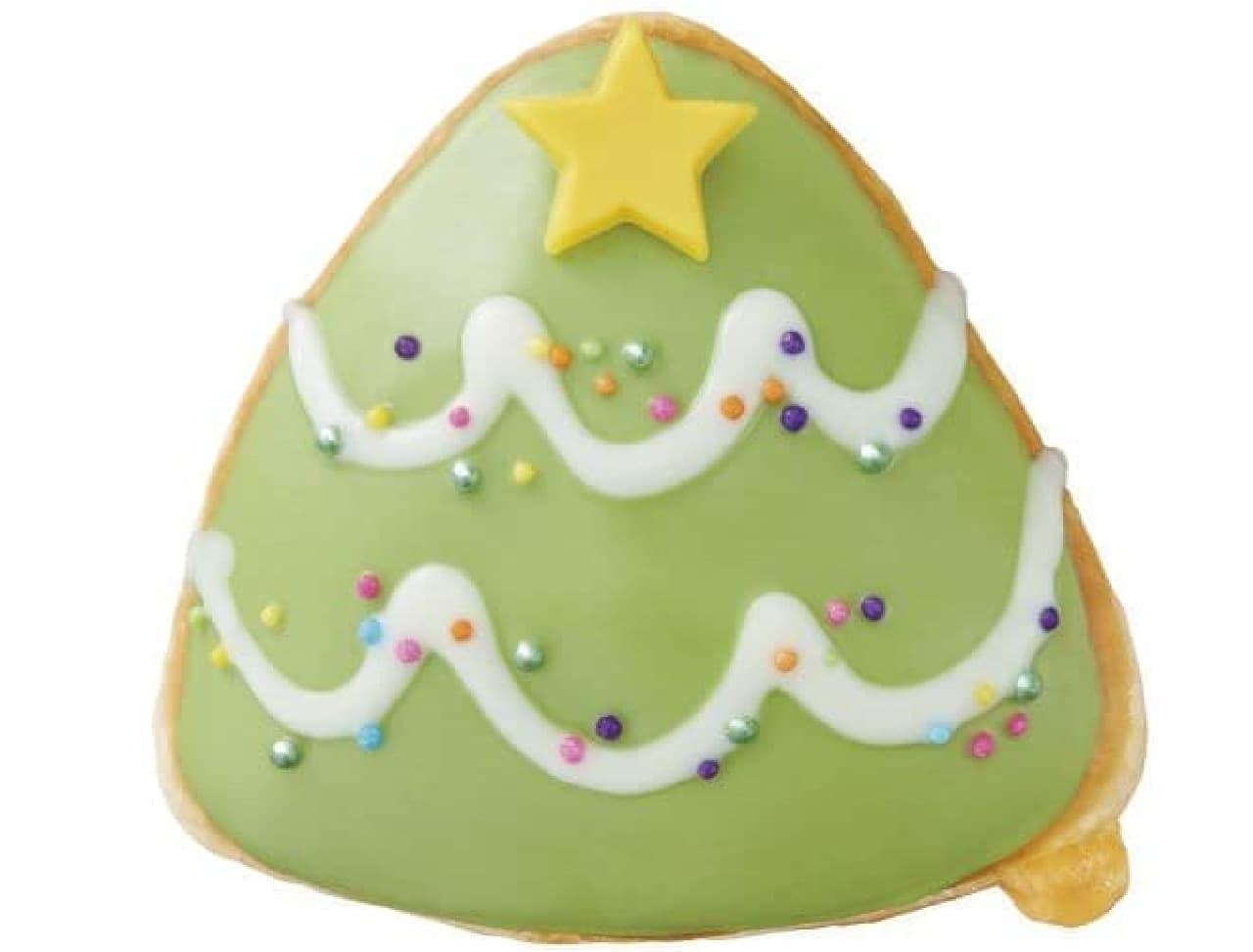 「ハッピー バナナ ツリー」は、緑色のバニラチョコがアイシングされたクリスマスツリーデザインのドーナツ