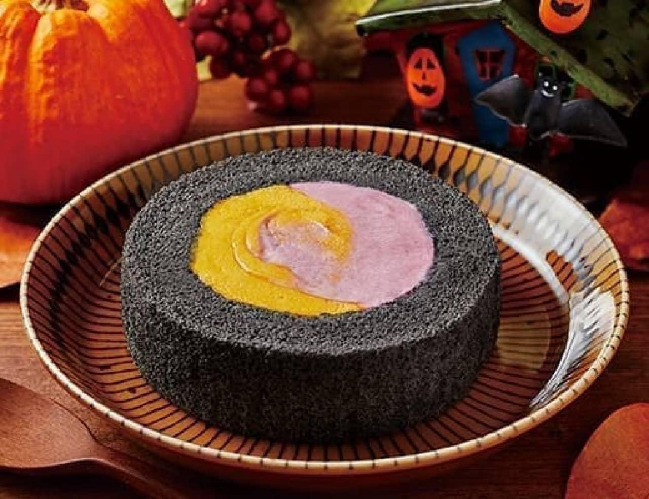 ローソン「プレミアムかぼちゃ&紫芋のロールケーキ」