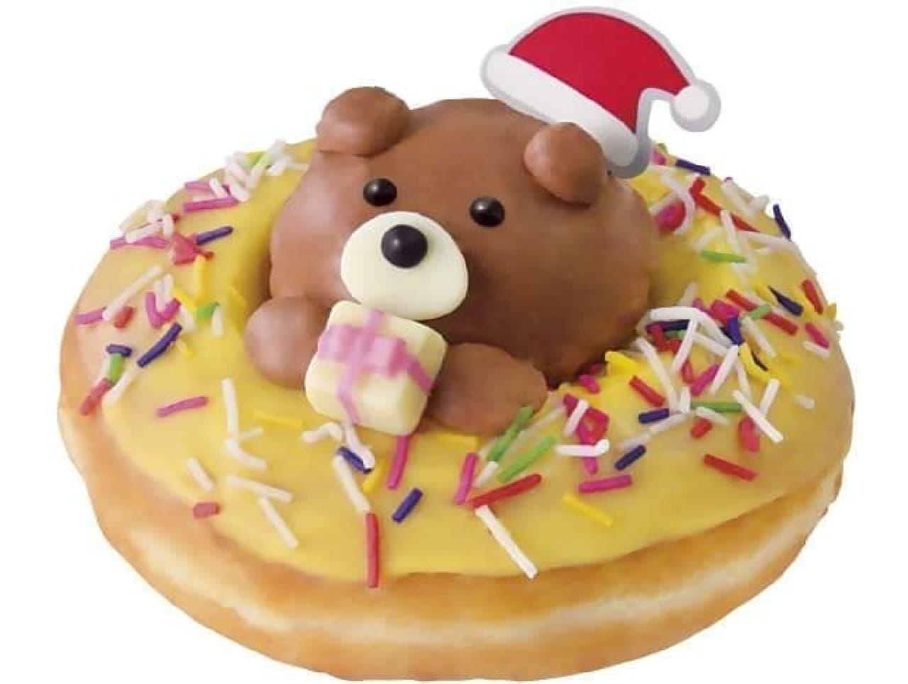 「クリスピー・クリーム プレミアム プレゼント ベア」は、チョコホイップで出来たサンタのクマがトッピングされたドーナツ