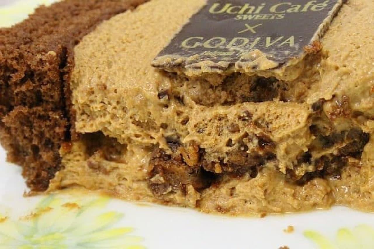 ローソン「Uchi Cafe SWEETS×GODIVAキャラメルショコラロールケーキ」
