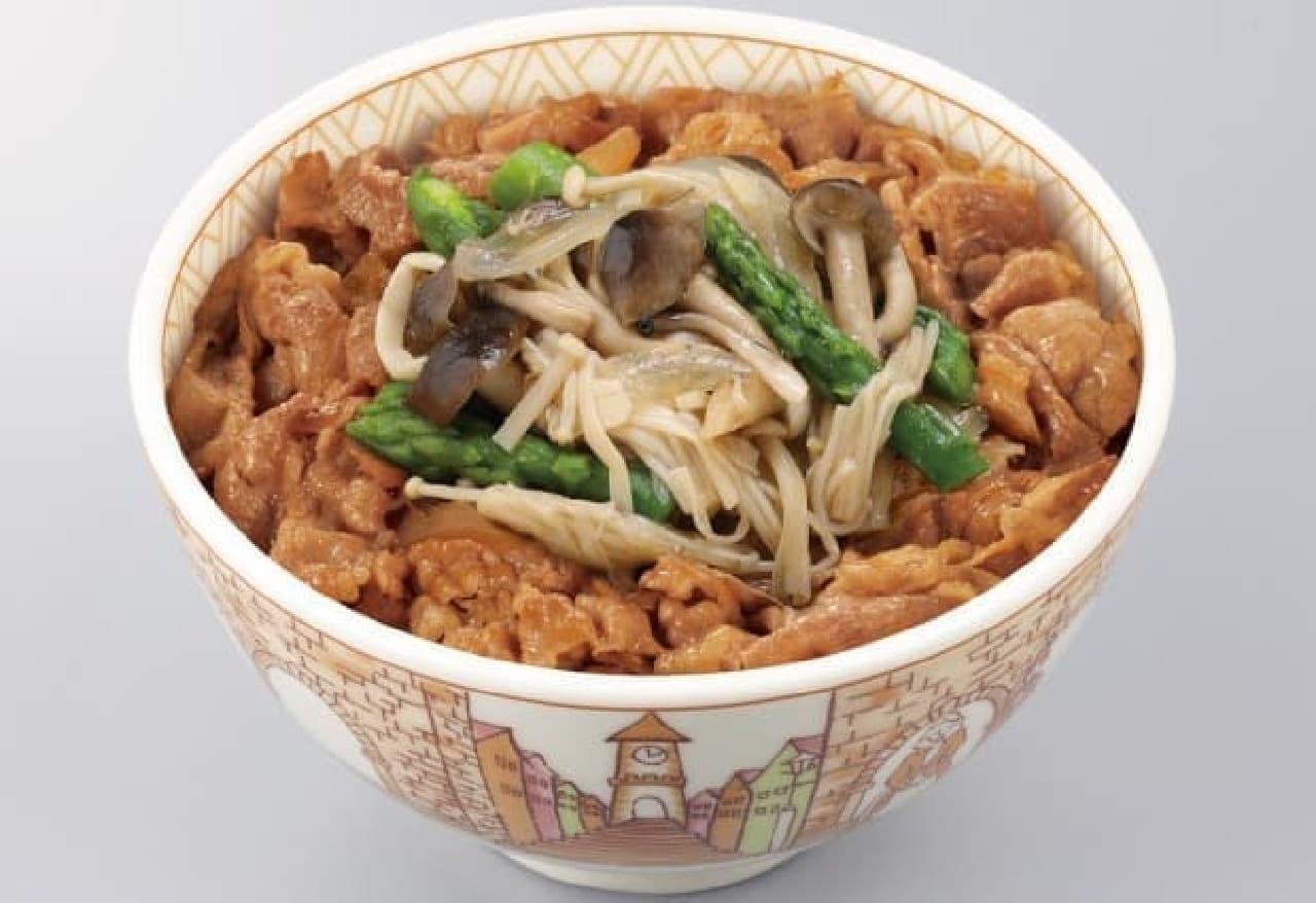 すき家「きのことアスパラ牛丼」