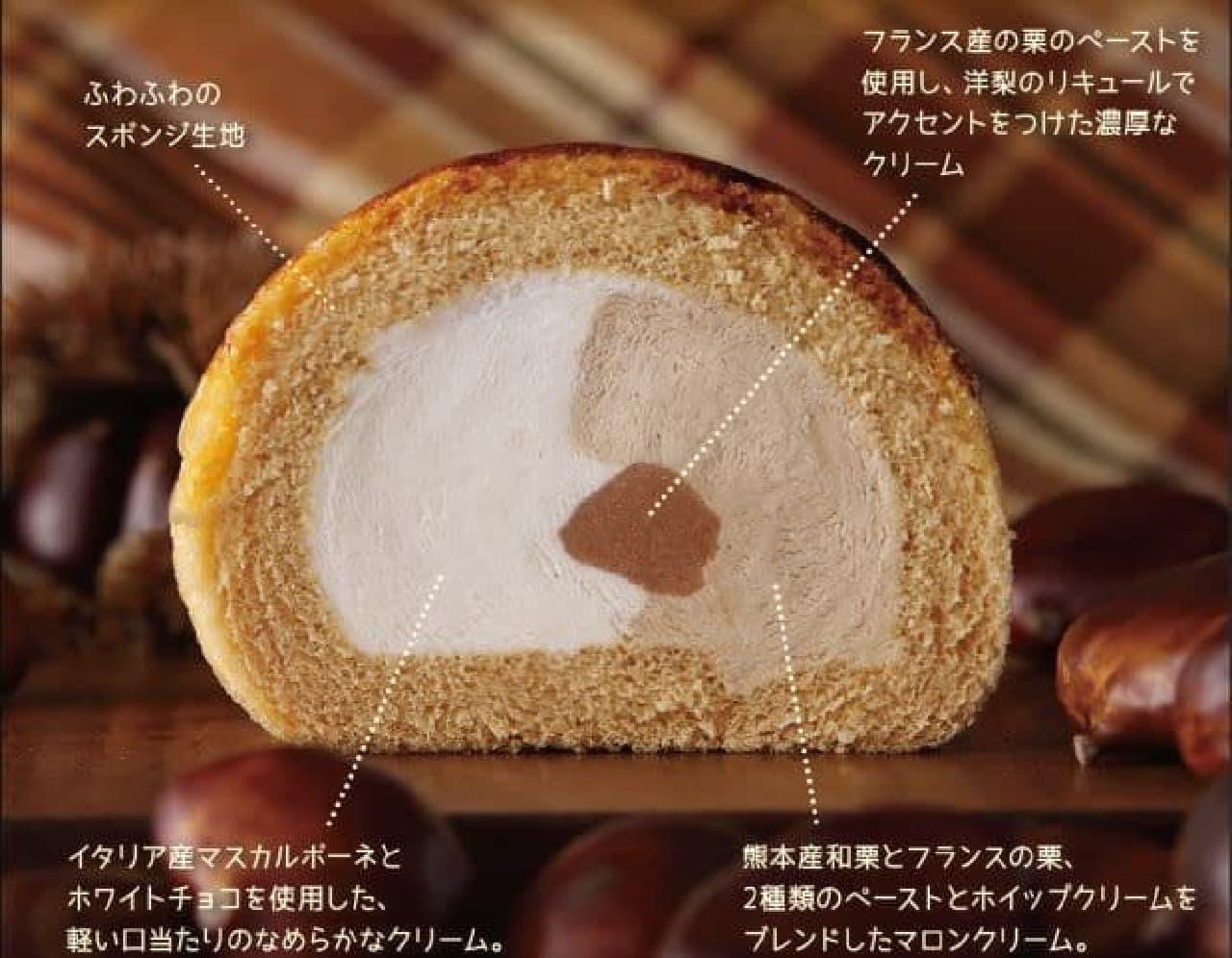 「マロンロール」は2種類のペーストを使用したマロンクリームと、ミルククリームが包まれたロールケーキ