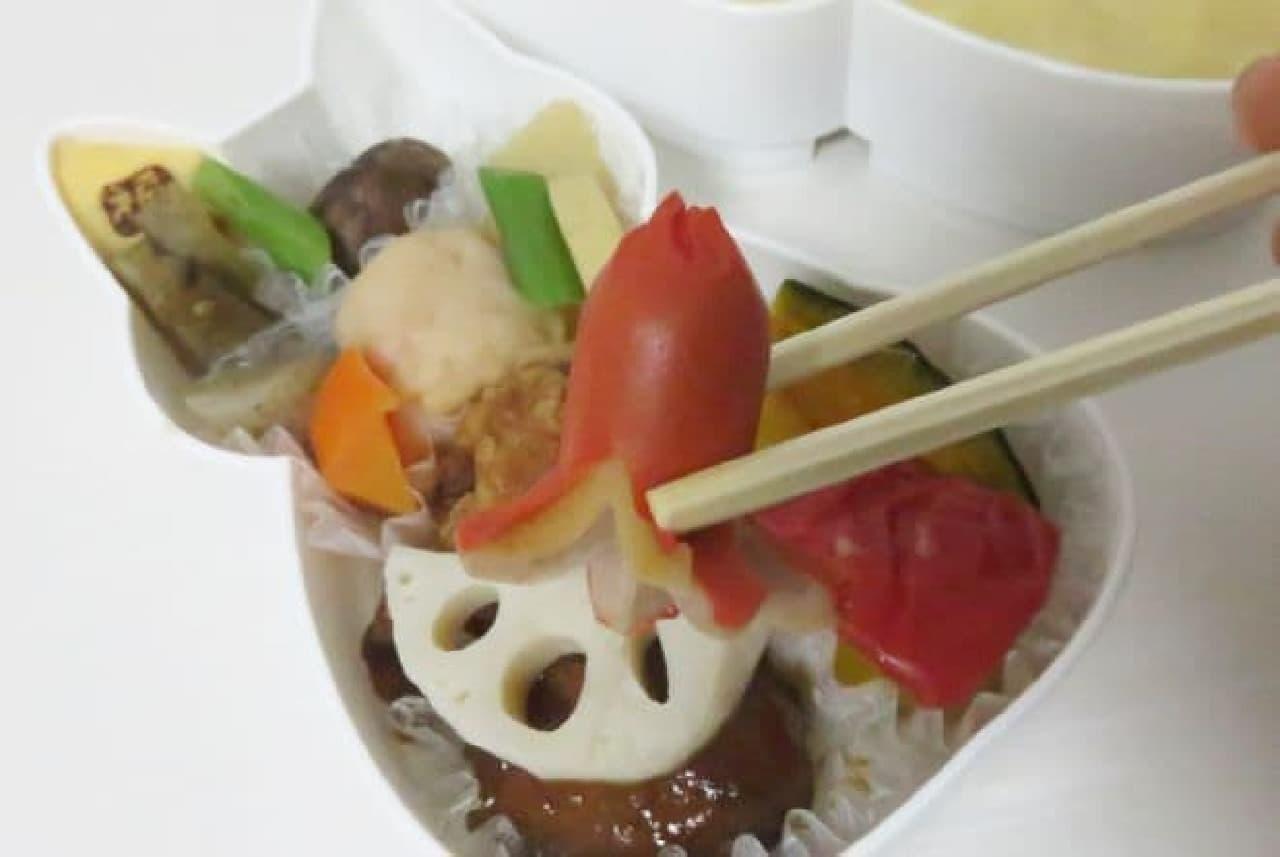 「蘭丸」は、タコウィンナーにミートボール、唐揚げなど定番アイテムが詰まったお弁当