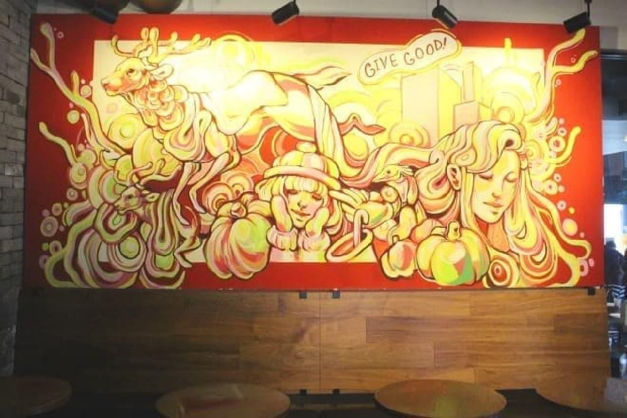 スターバックス表参道B-SIDE店のホリデー限定アート空間