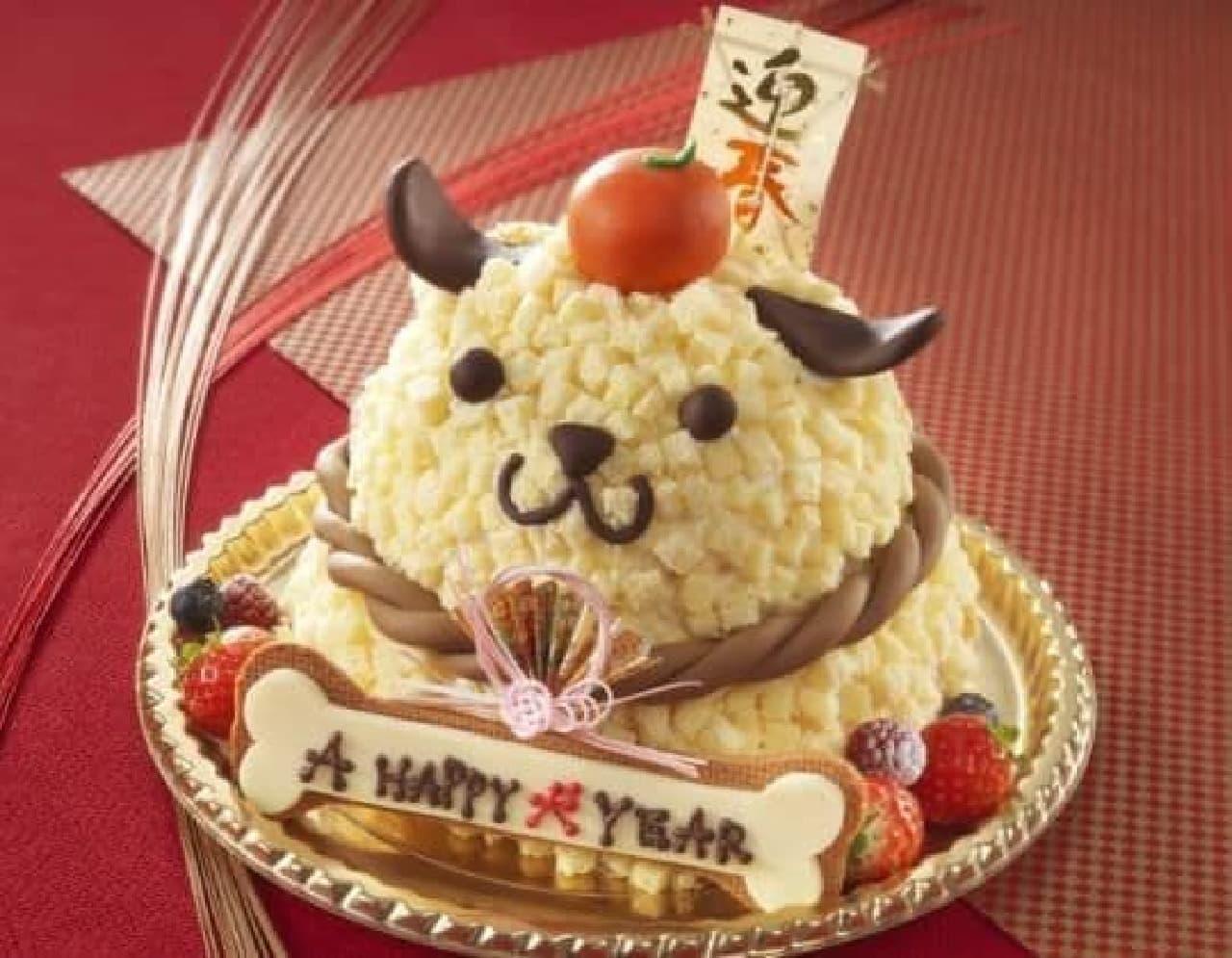 「A HAPPY 犬 YEAR」は、戌年にちなんだ愛らしい犬のケーキ