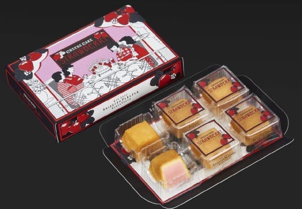冬のチーズケーキ(いちご)はいちごのペーストと練乳を加えたクリームチーズをいちごの香りのビスキュイで包み焼きあげられたお菓子