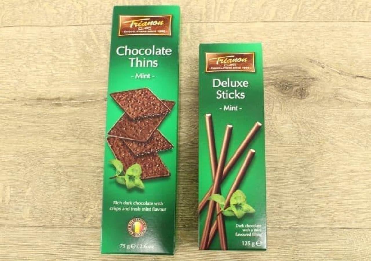 カルディの冬季限定チョコミント「トリアノン クリスピーチョコレート ミント」と「同 スティックチョコレート ダークミント」