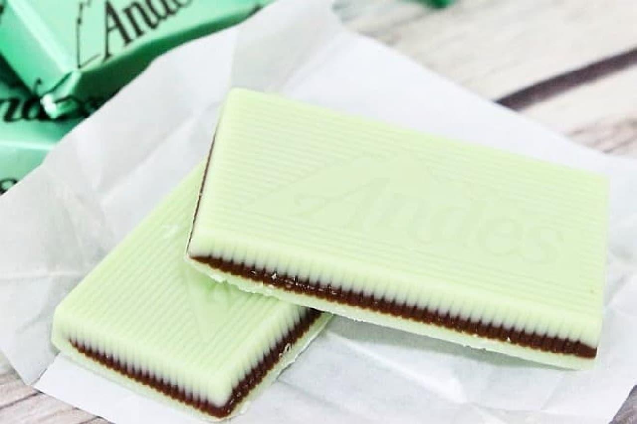 ミントパフェ シンは、ミントチョコでミルクチョコをサンドした3層構造のチョコレート