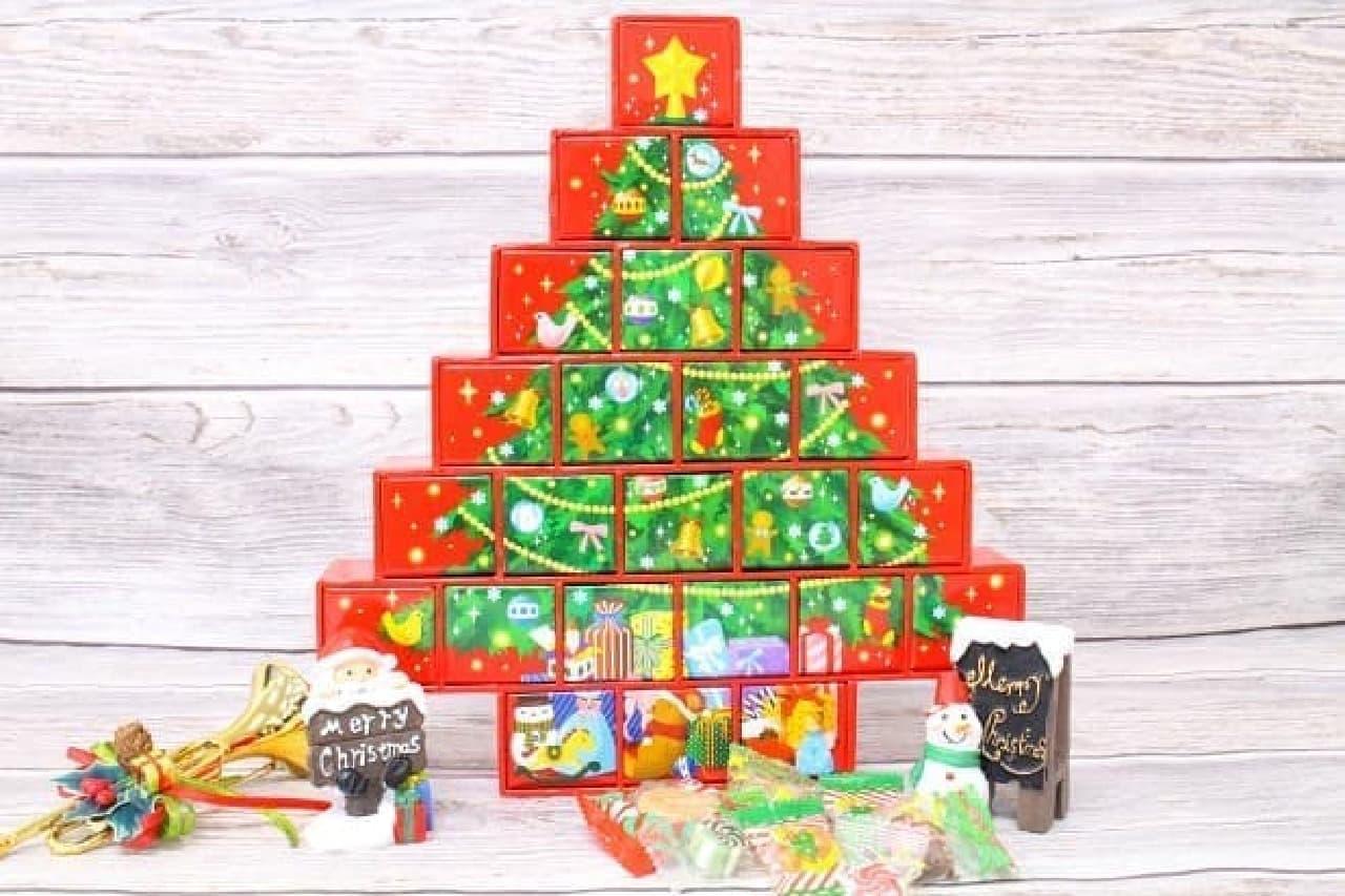 カウントダウンカレンダー クリスマスツリーのお菓子