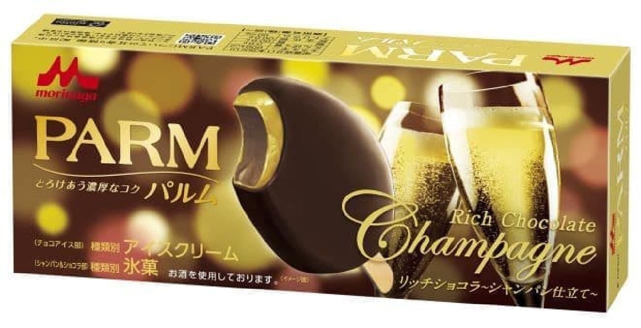 「リッチショコラ~シャンパン仕立て~」は、チョコアイスをシャンパンソースでコーティングしチョコで包みこんだバーアイス