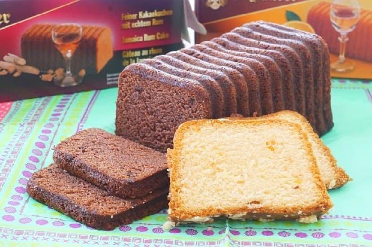 カルディで販売されている冬季限定商品「シュルンダー リキュールケーキ ジャマイカラム」と「同 コアントロー」