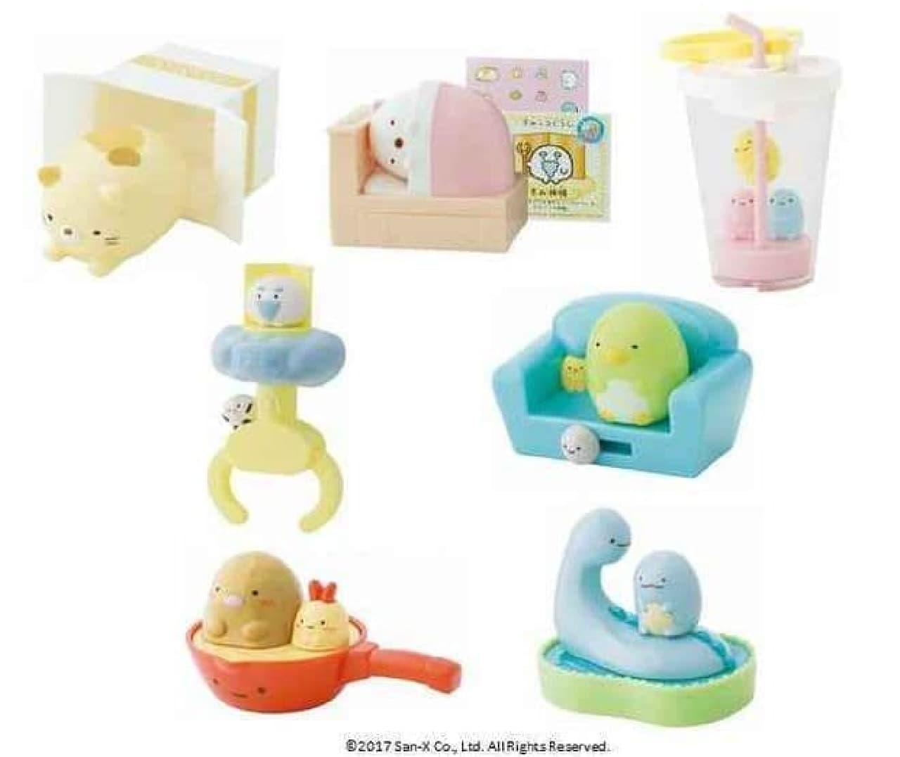 ハッピーセット初登場の「すみっコぐらし」では、仕掛け付きのおもちゃが全7種類が登場
