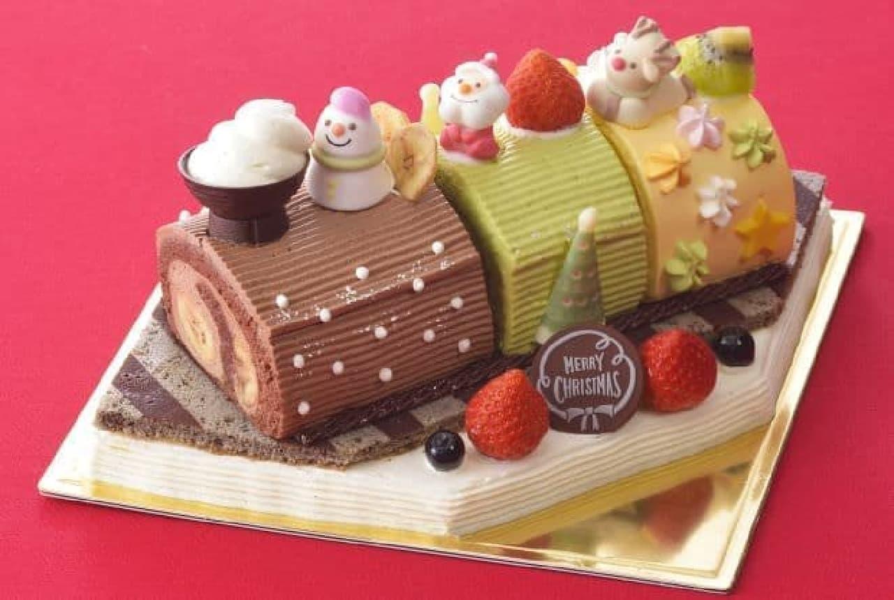 「2017 Kid's Dream Cake~クリスマスきかんしゃロールケーキ」は、3種のロールケーキでできたカラフルな機関車のケーキ