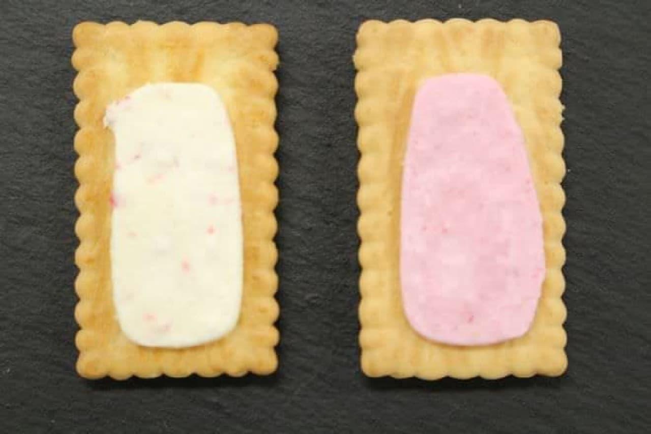 ビスコのクリームを比較する様子