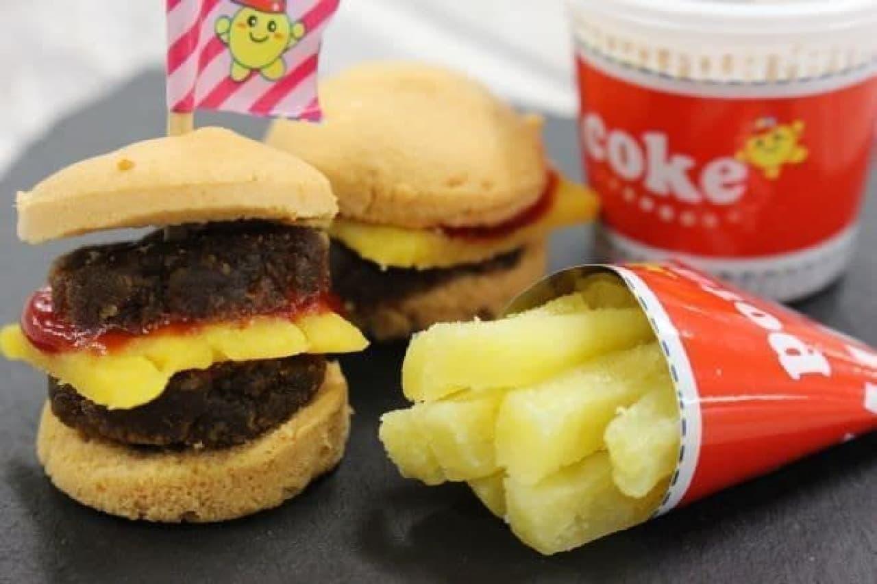 本物そっくりのハンバーガー、ダブルバーガー、ポテト、コーラーが作れる「ハンバーガー」