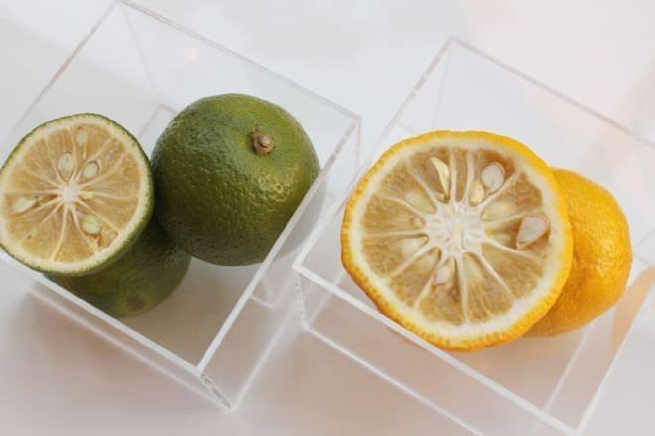 抹茶 フルーティー ブレンズ ティー ラテに入れられた柑橘系