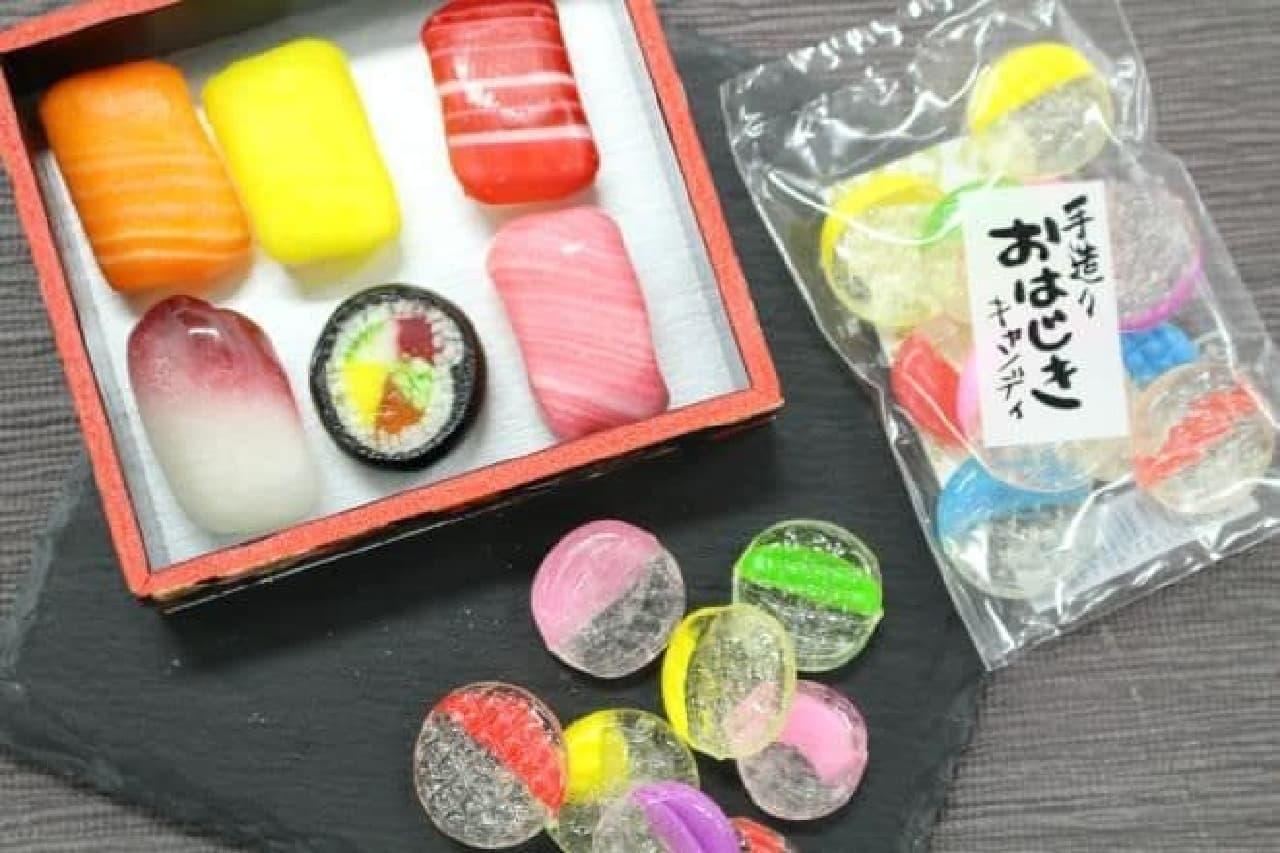 大阪百貨店で見つけた「おはじきキャンディ」と「すし折飴」