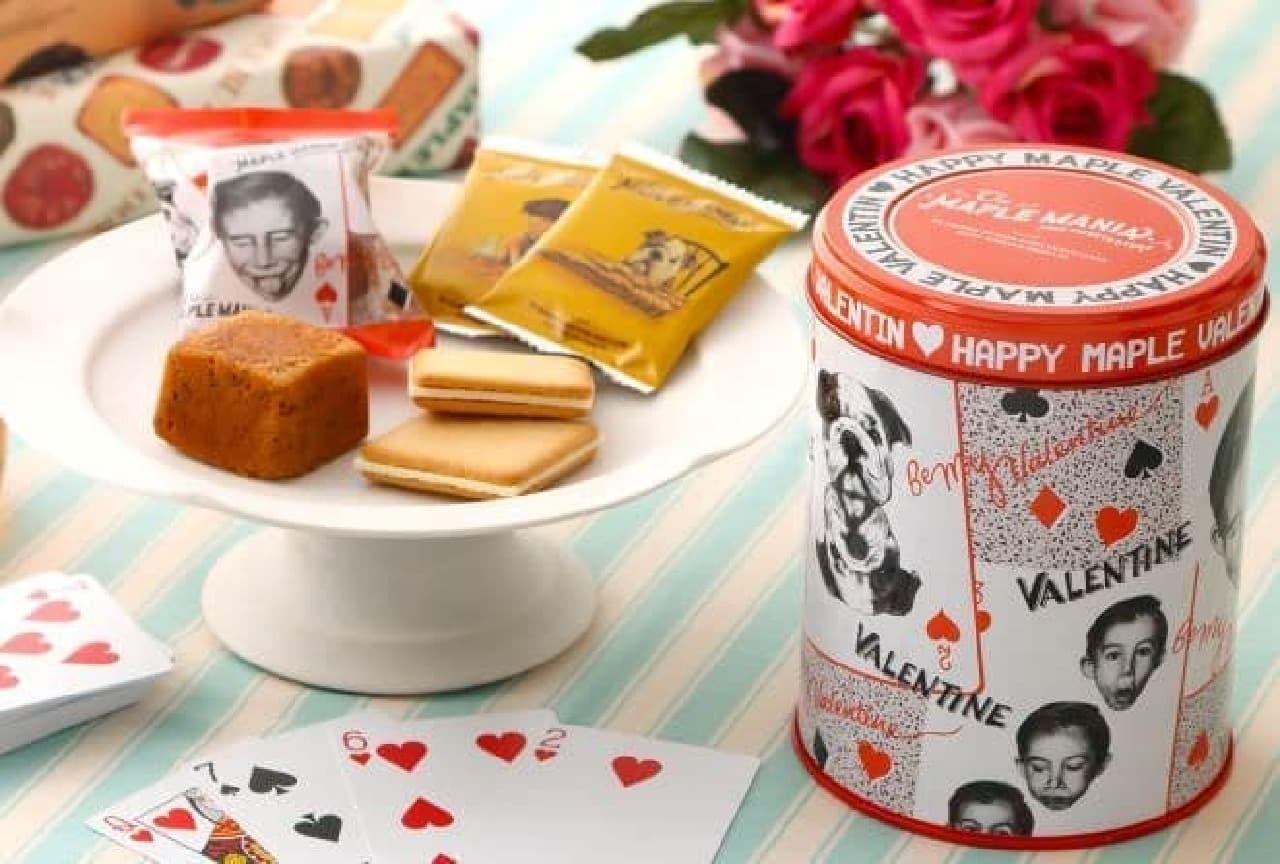 「メープルバレンタイン缶」は、2種類のお菓子がオリジナルデザインのバレンタイン缶に入ったセット