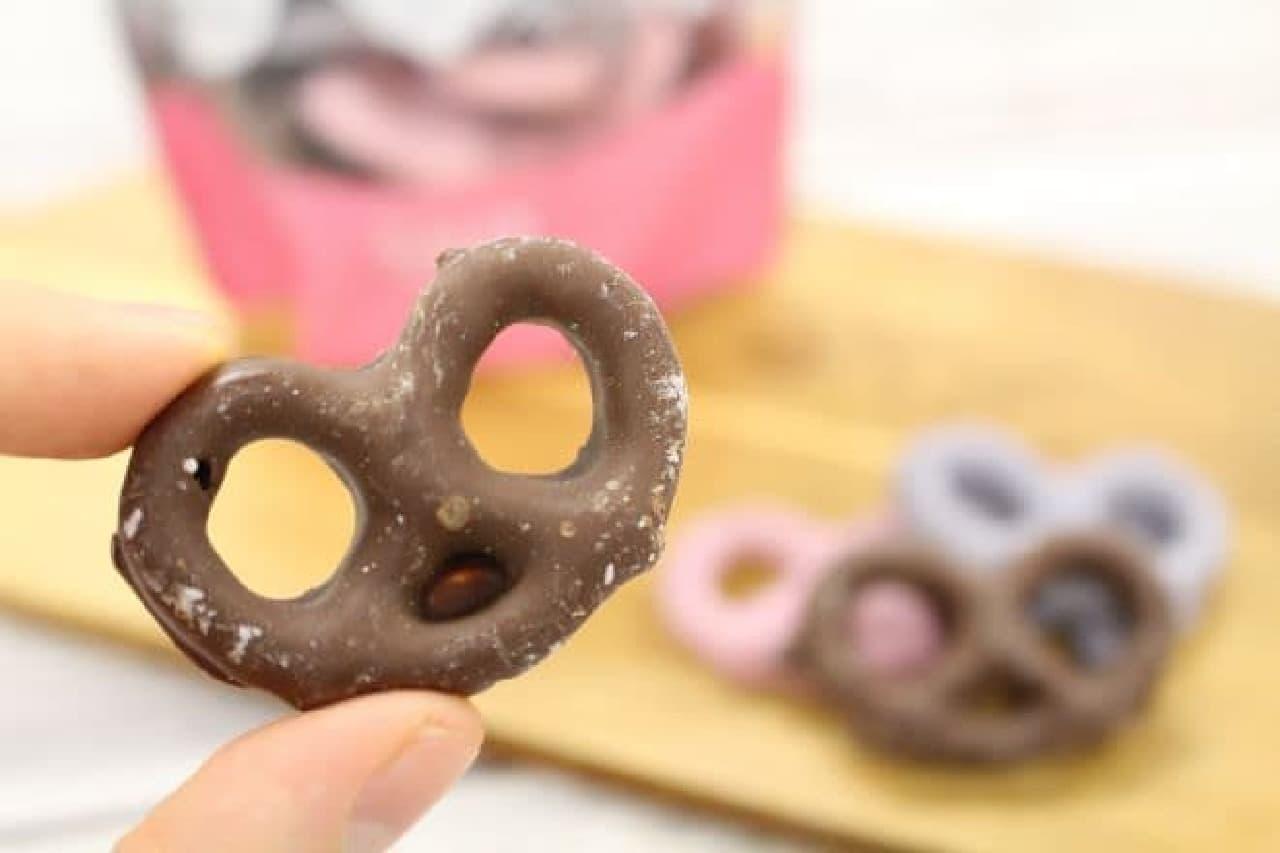 「チョコレートフレーバープレッツェルミックス」はプレッツェルをフレーバークリームでコーティングしたチョコプレッツェル