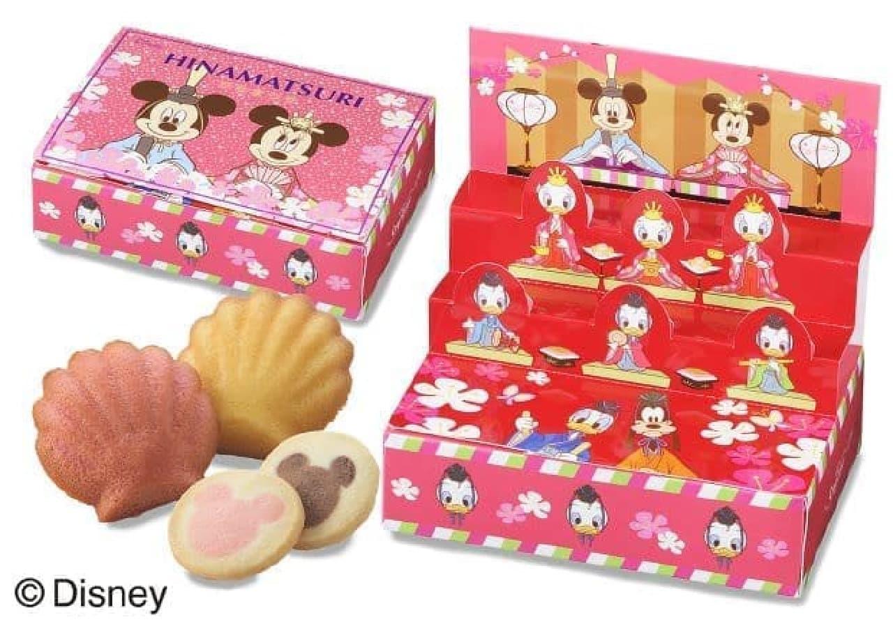 「<ディズニー>ひな段飾り」はマドレーヌ2種とクッキー2種の詰め合わせ