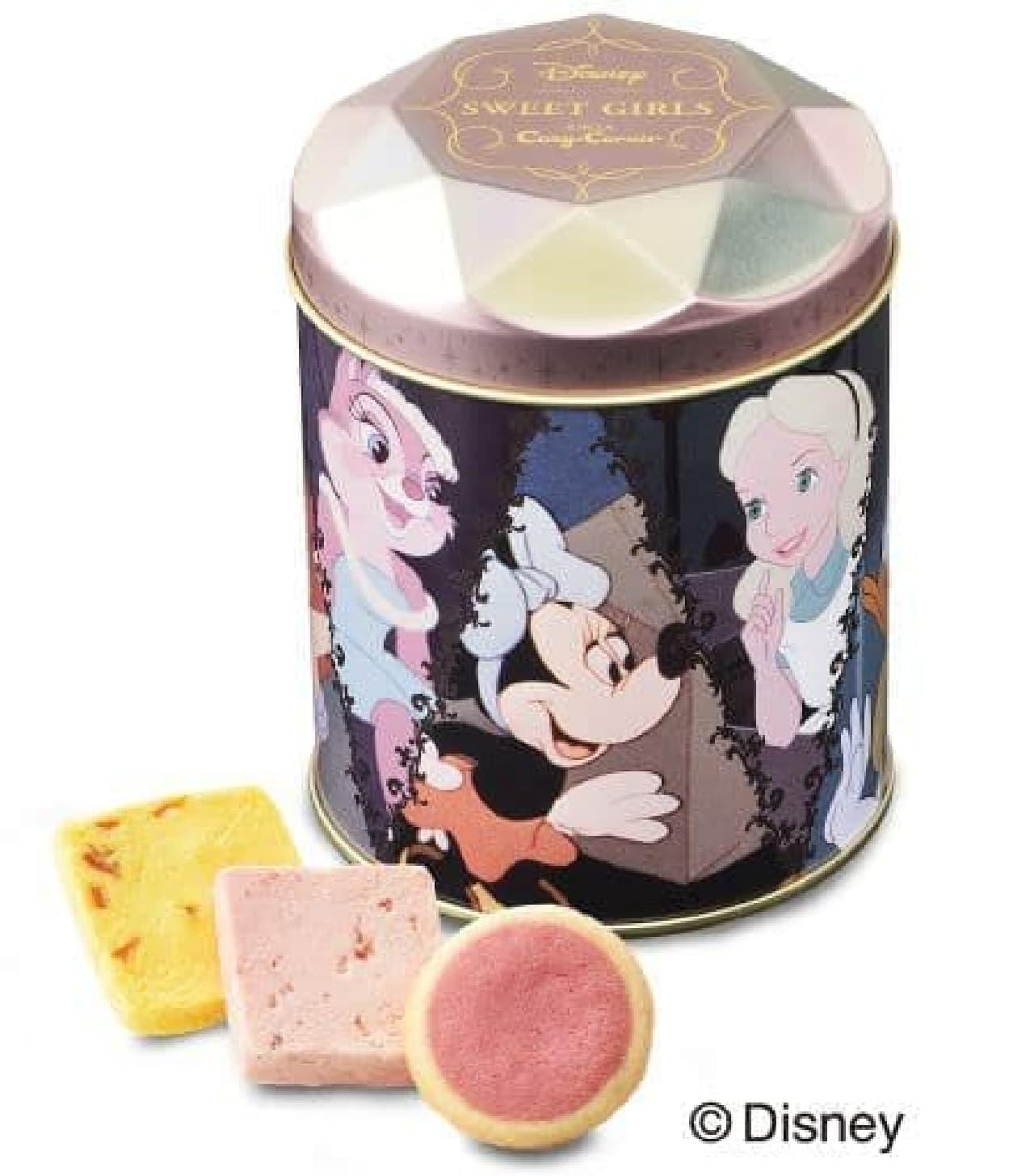 「<ディズニー>ガールズギフト缶」はディズニー・デザインの缶の中に、焼きショコラとクッキー入りのセット