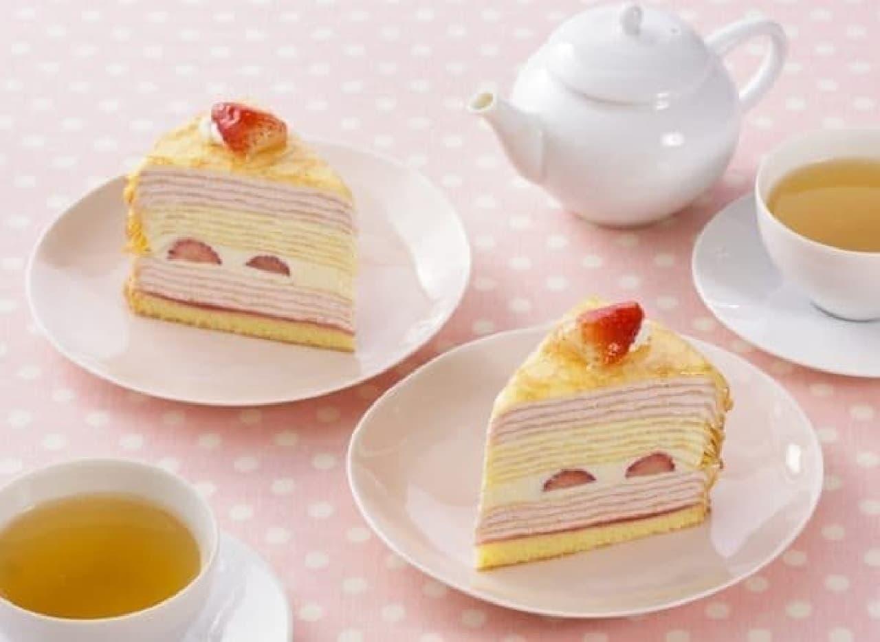 銀座コージーコーナー「ジャンボミルクレープ(苺&プレーン)」