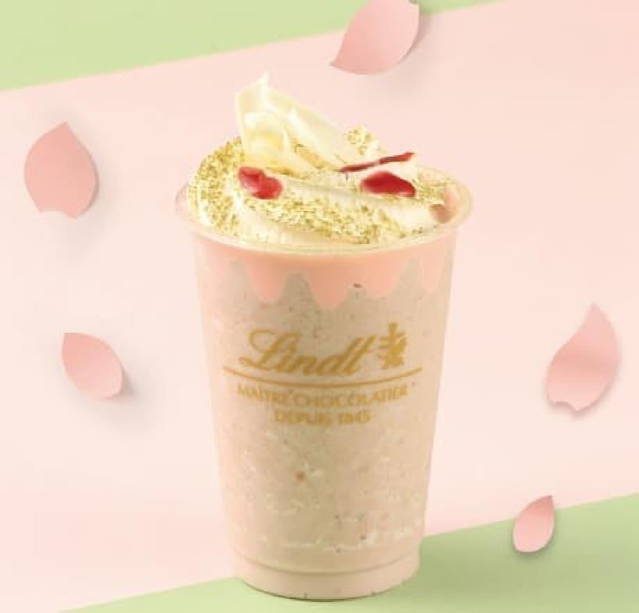 リンツ ショコラ カフェ「リンツ ホワイトチョコレート サクラ アイスドリンク」