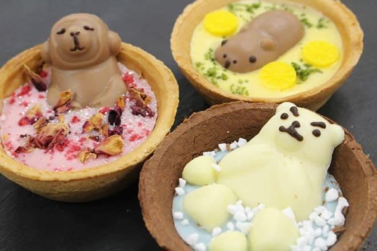 「ゴンチャロフ シェアグラム」は、チョコのお風呂でまったりくつろぐ3匹のどうぶつたちの温泉旅行をイメージしたチョコレート