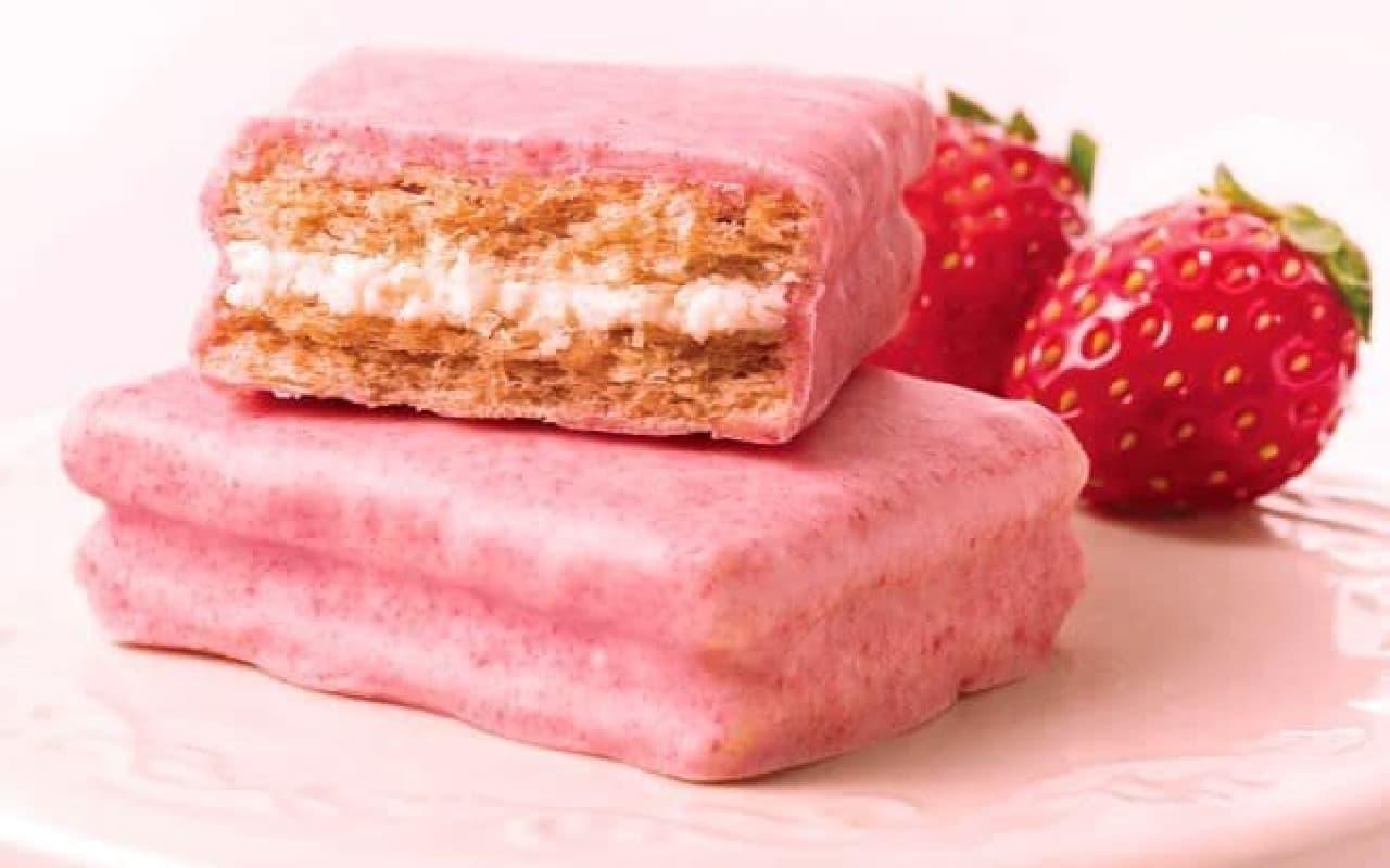 「シュガーバターの木 いちごショコラがけサンド」は、まるごとピンクに包まれた春限定のプレミアムランクサンド