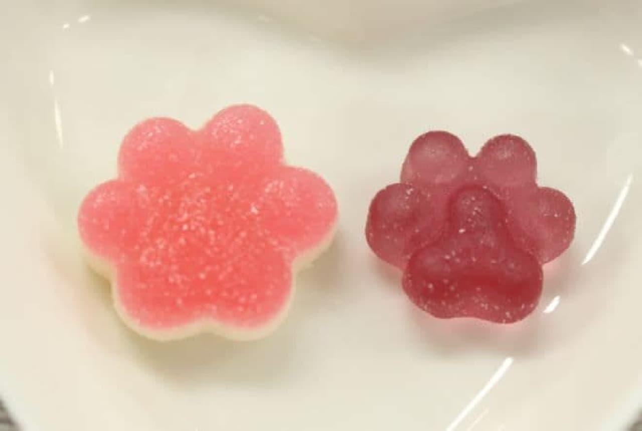 「プニフワ幸せにくきゅうグミ」と「ちっちゃな幸せにくきゅうグミ」の比較
