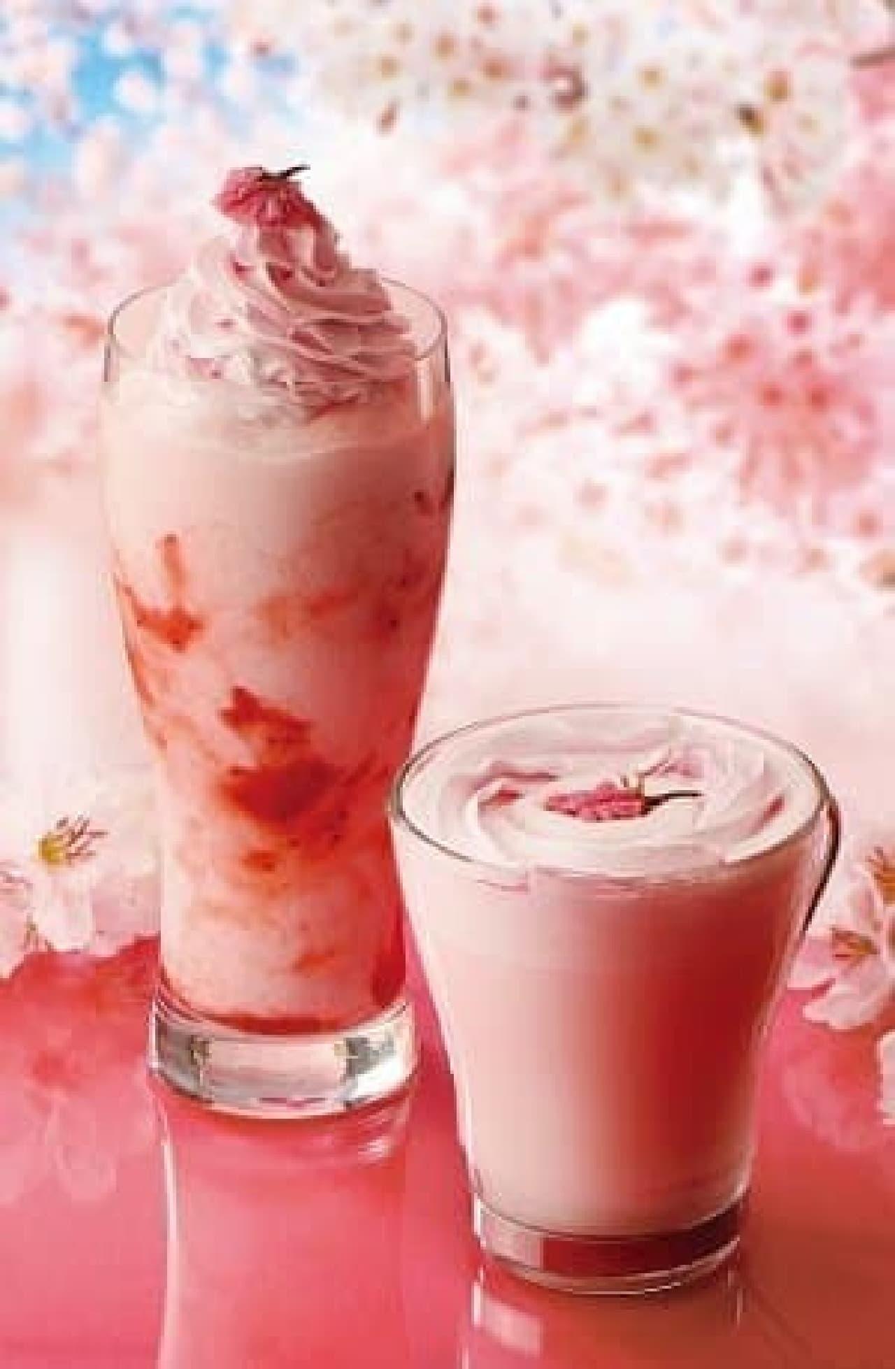 カフェ・ド・クリエ「桜ホイップラテ」と「ソルベージュ 桜&いちご」