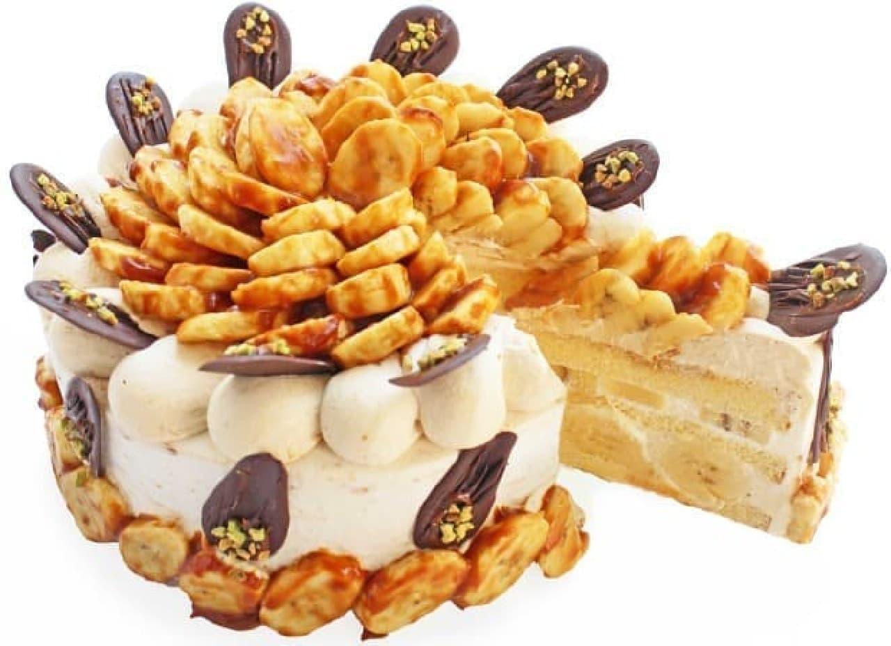 カフェコムサ「カラメルバナーヌのショートケーキ」