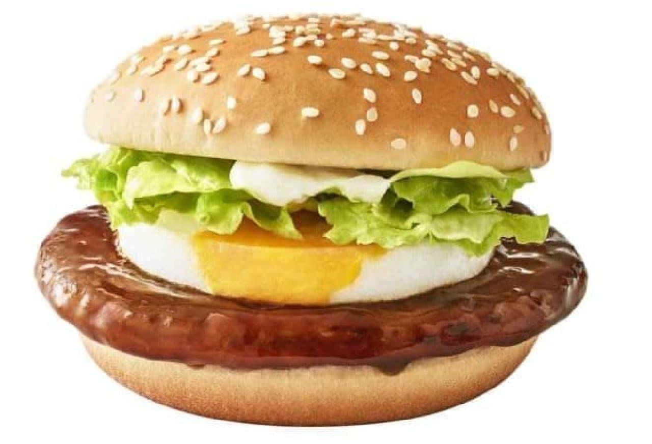 てりたまは、甘辛いてりやきソースを絡めたポークパティとたまごが特徴のバーガー