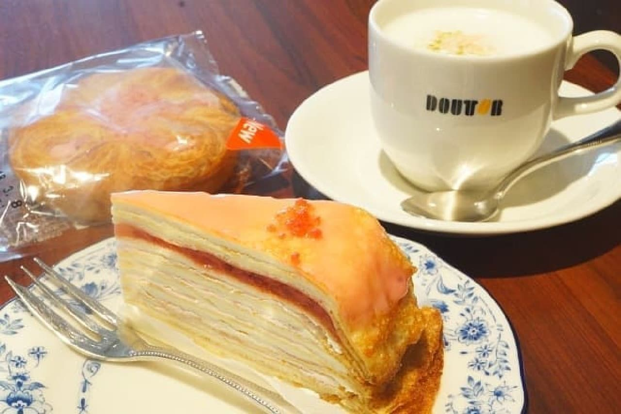 ドトールコーヒー「桜香る ホワイトショコラ・ラテ」「桜のパリパリチョコミルクレープ」「桜餡デニッシュ」
