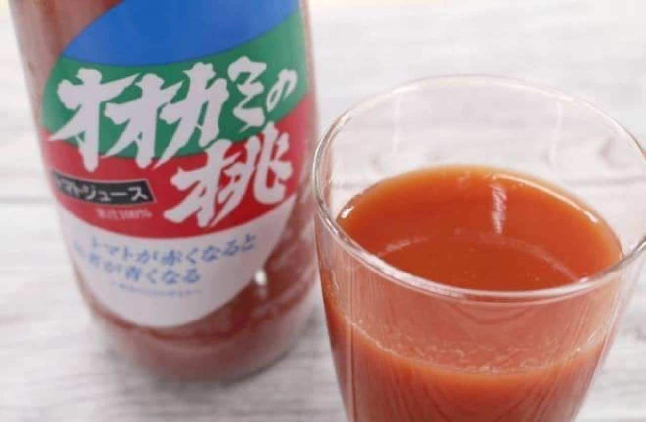 「オオカミの桃」は、北海道産のトマトで作られたトマトジュース