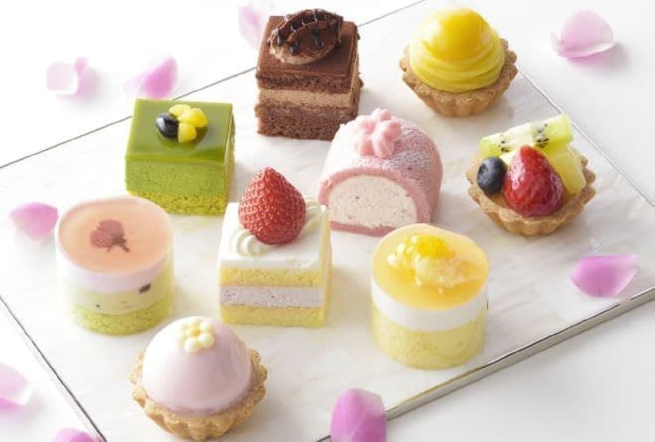 「プチセレクション~春菓~(9個入)」は、春ならではの素材が使われたプチケーキの詰め合わせ