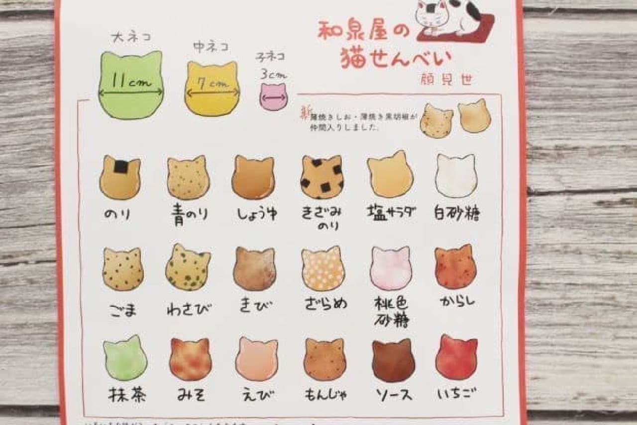 和泉屋「猫せんべい」のパンフレット
