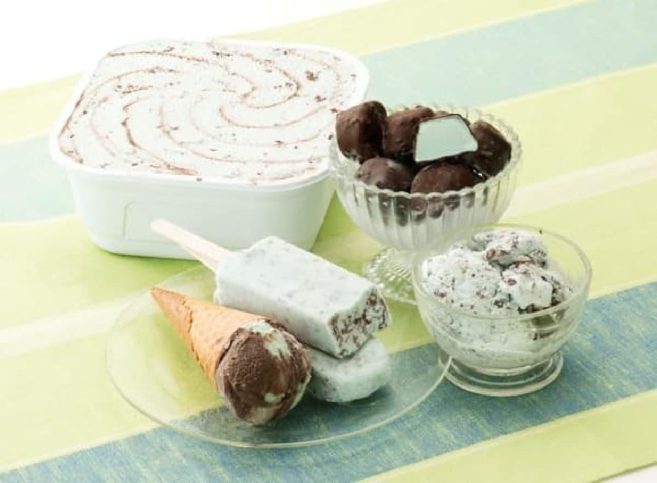 シャトレーゼ「THE ICE CREAM SHOPコーン ダブルショコラミント」と「デザートショコラボールチョコミント」