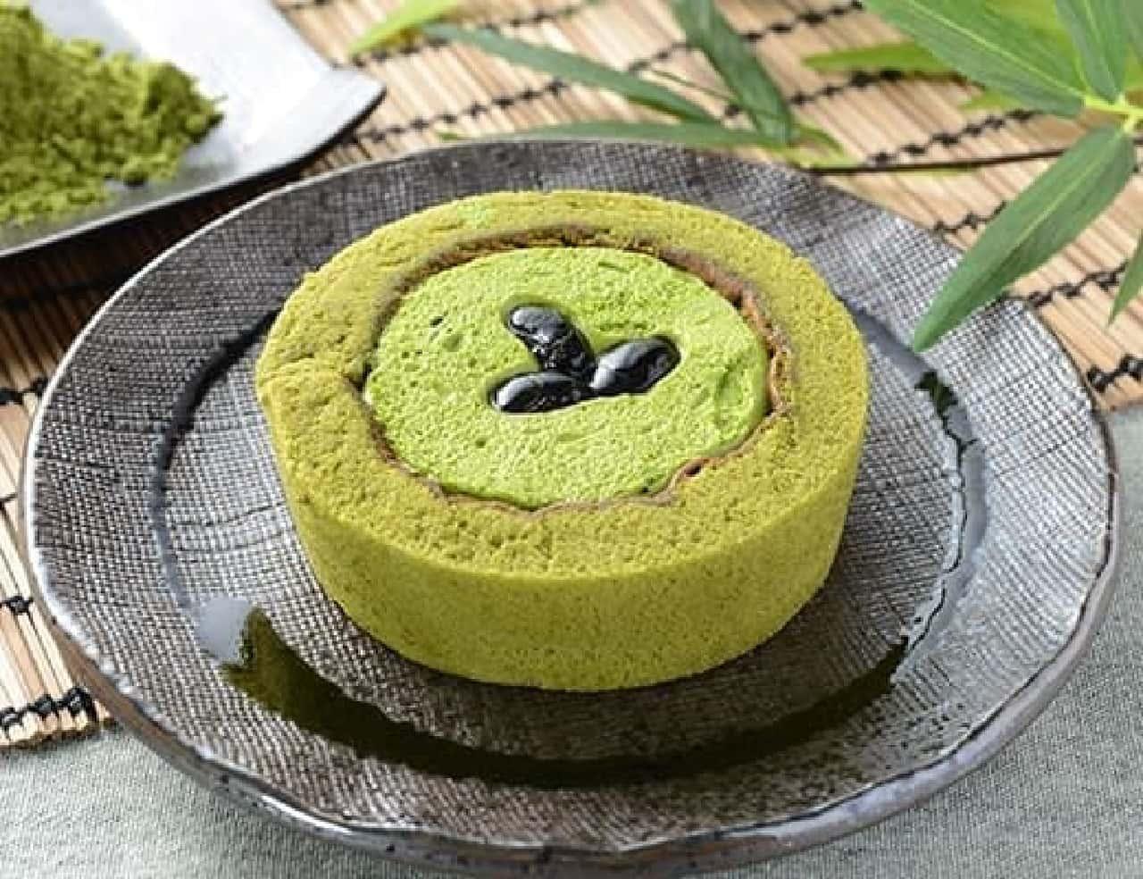 ローソン「プレミアム宇治抹茶と丹波黒豆のロールケーキ」