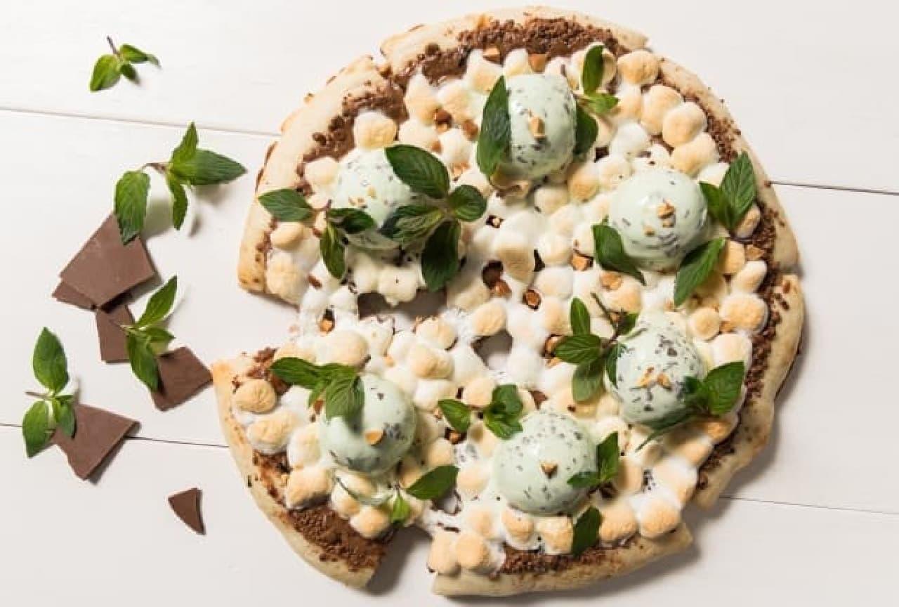 マックスブレナー「フレッシュミントチョコレートピザ」